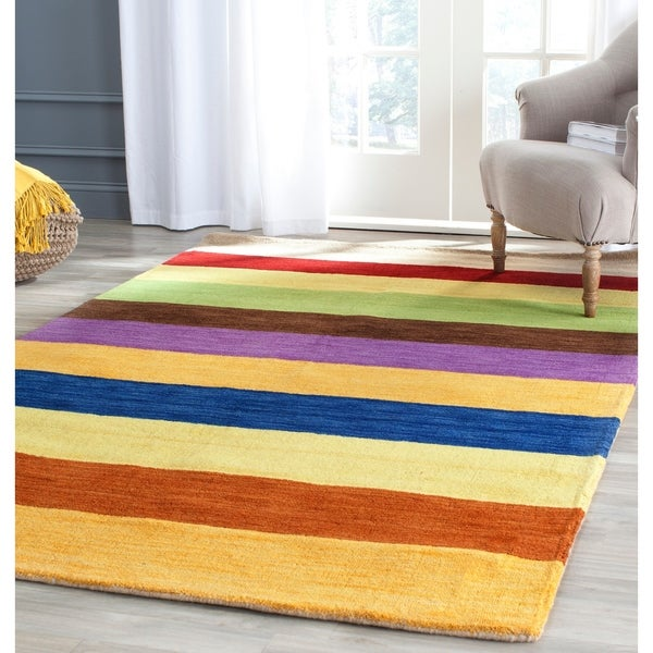"Safavieh Handmade Himalaya Yellow/ Multicolored Stripe Wool Gabbeh Area Rug - 8'9"" x 12'"