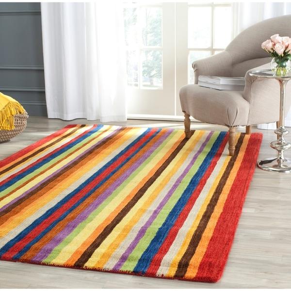 "Safavieh Handmade Himalaya Red/ Multicolored Stripe Wool Gabbeh Area Rug - 8'9"" x 12'"