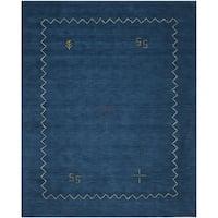 "Safavieh Handmade Himalaya Blue Wool Gabbeh Area Rug - 8'9"" x 12'"