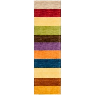 Safavieh Handmade Himalaya Yellow/ Multicolored Stripe Wool Gabbeh Runner Rug (2'3 x 10')