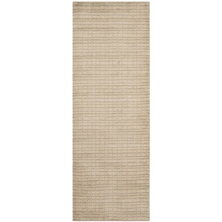 Safavieh Handmade Himalaya Beige Grid Wool Runner Rug (2'6 x 7')