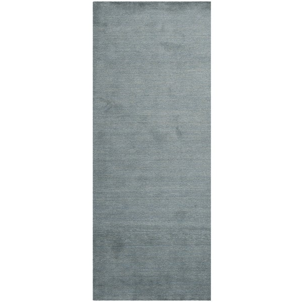 Shop Safavieh Handmade Himalaya Solid Blue Wool Runner Rug