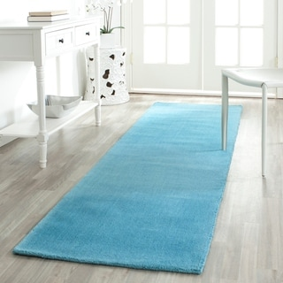 Safavieh Handmade Himalaya Solid Turquoise Blue Wool Runner Rug (2'3 x 12')