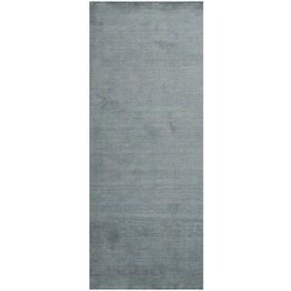 Safavieh Handmade Himalaya Solid Blue Wool Rug (2'3 x 6')