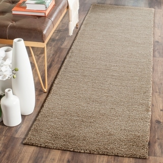 Safavieh Loomed Knotted Himalayan Solid Brown Wool Rug (2'3 x 10')