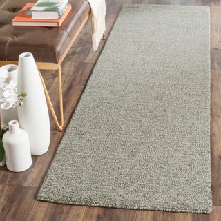Safavieh Loomed Knotted Himalayan Solid Grey Wool Rug (2'3 x 10')