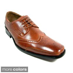Delli Aldo Men's Wing-Tip Lace-Up Polyurethane Oxford Shoes (As Is Item)
