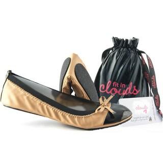 Women's Tan Leather Retro Folding Flat Shoes