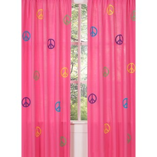 Groovy Peace Sign 84-inch Curtain Panel Pair