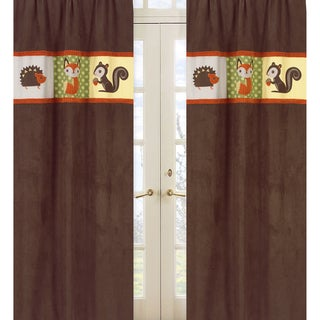 Sweet Jojo Designs Green, Orange, Brown, Yellow and Buff Forest Friends Collection 84-inch Window Treatment Curtain Panel Pair