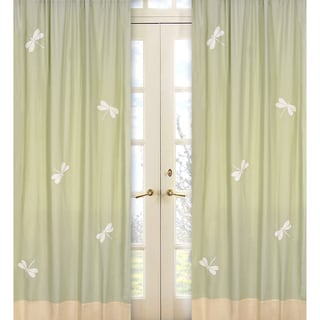 Sweet Jojo Designs Green, Yellow and Ivory 84-inch Window Treatment Curtain Panel Pair for Green Dragonfly Dreams Collection