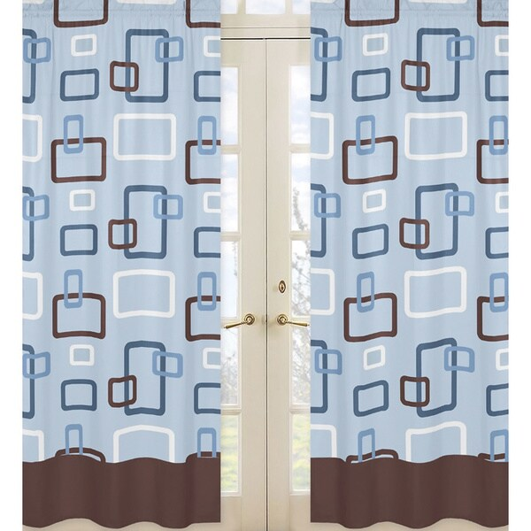 Sweet Jojo Designs Blue, Brown and White 84-inch Window Treatment Curtain Panel Pair for Blue and Brown Geo Collection