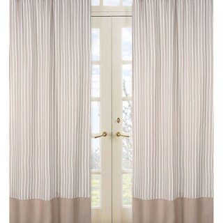 Sweet Jojo Designs Taupe and Off-White 84-inch Window Treatment Curtain Panel Pair for Giraffe Collection - 42 x 84