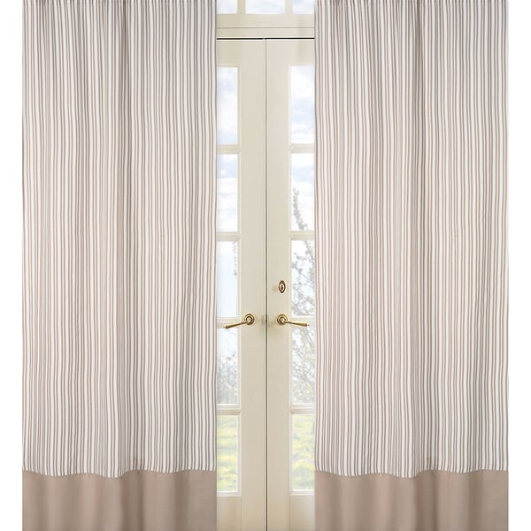 Sweet Jojo Designs Taupe and Off-White 84-inch Window Treatment Curtain Panel Pair for Giraffe Collection