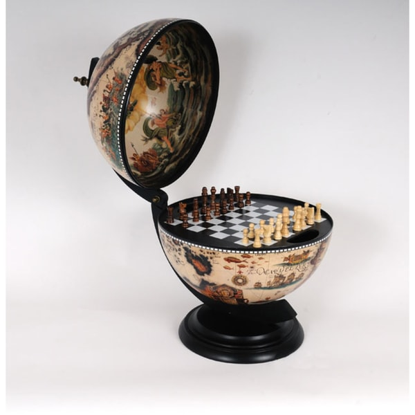 Old Modern Handicrafts Classic Style Globe Hinged Chess Board