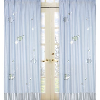 Sweet Jojo Designs Soft Blue, Green and White 84-inch Window Treatment Curtain Panel Pair for Go Fish Collection