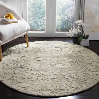 Safavieh Handmade Fern Scrolls Sage New Zealand Wool Rug (5' Round)