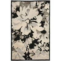 Safavieh Kashmir Black/ Grey Floral Rug - 3' x 5'