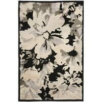 Safavieh Kashmir Black/ Grey Floral Rug - 4' x 6'