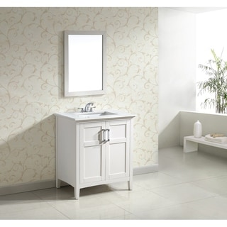 WYNDENHALL Salem 30 inch Contemporary Bath Vanity in Soft White with Bombay White Engineered Quartz Marble Top