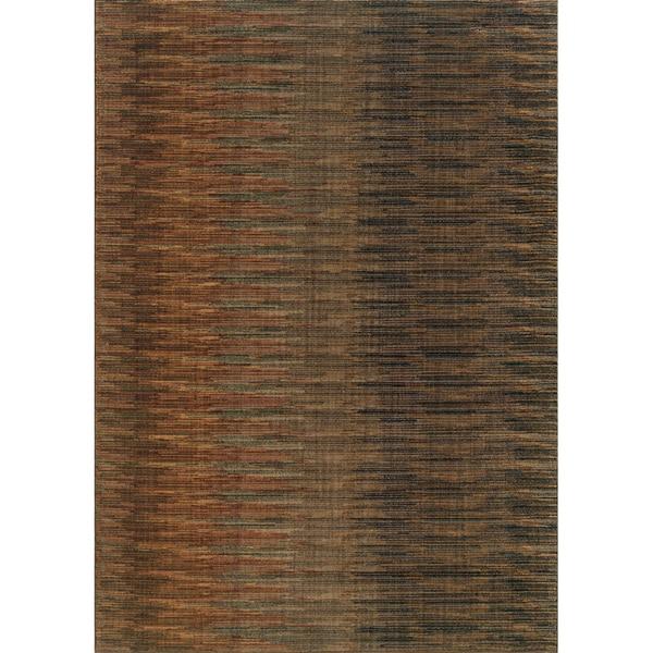 """Indoor Brown/ Rust Area Rug (6'7 x 9'6) - 6'7"""" x 9'6"""""""