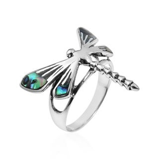 Handmade Sterling Silver Dragonfly Wings Inlay Abalone Ring (Thailand)