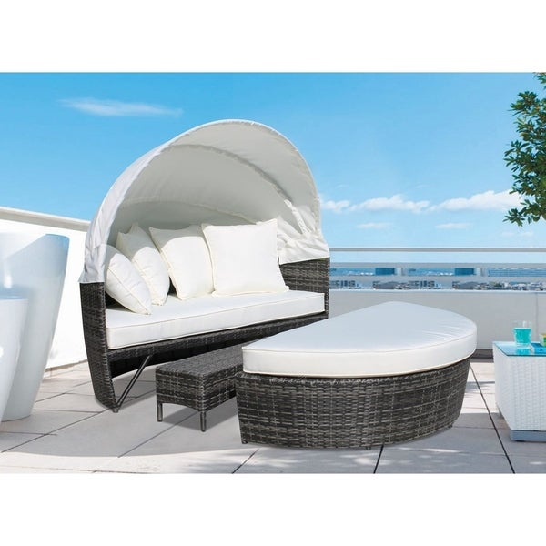 Outdoor Canopy Brown Wicker Daybed With Cushions   SOGNO Deluxe