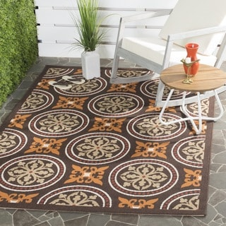 "Safavieh Veranda Traditional Piled Chocolate Brown/Terracotta Rug (2'7"" x 5')"