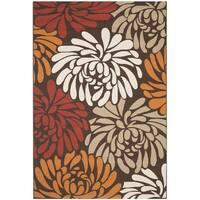 Safavieh Veranda Piled Chocolate Brown/ Terracotta Rug - 4' x 5'7