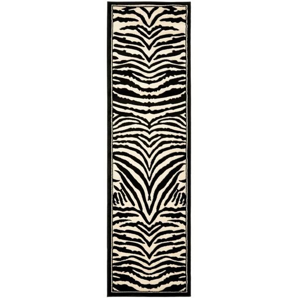 "Safavieh Lyndhurst Contemporary Zebra Black/ Ivory Rug - 2'3"" x 10'"