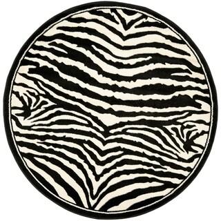 Safavieh Lyndhurst Contemporary Zebra Black/ White Rug (4' Round)