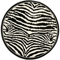 Safavieh Lyndhurst Contemporary Zebra Black/ White Rug (4' Round) - 4'