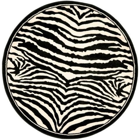 Safavieh Lyndhurst Contemporary Zebra Black/ IvoryRug - 4' x 4' Round