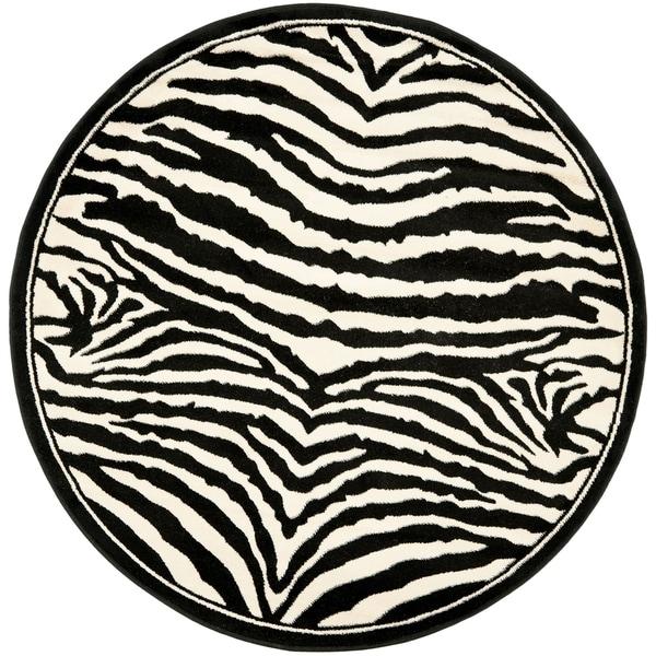 Safavieh Lyndhurst Zebra White/ Black Rug (4 Round)   15127587