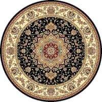 Safavieh Lyndhurst Traditional Oriental Black/ Ivory Rug - 4' Round