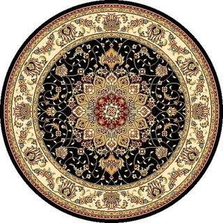 Safavieh Lyndhurst Traditional Oriental Black Ivory Rug 4 Round