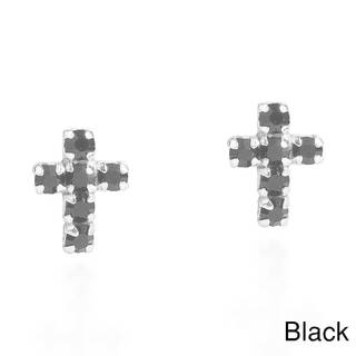 Sterling Silver Petite Cross Cubic Zirconia Stud Earrings (Thailand)