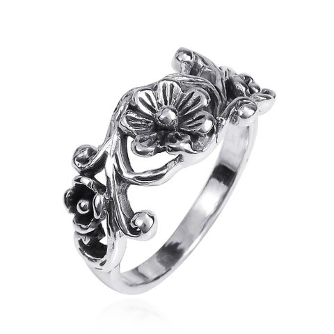 Handmade Sterling Silver Ethereal Romance Floral Ring (Thailand)