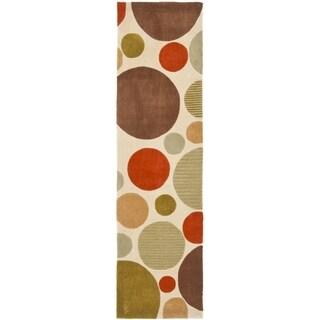 Safavieh Handmade Modern Art Bubbles Ivory/ Multicolored Polyester Rug (2'6 x 14')