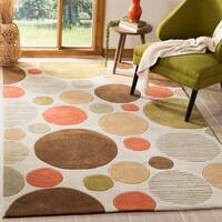 Safavieh Handmade Modern Art Bubbles Ivory/ Multicolored Polyester Rug - 2'6 x 14'
