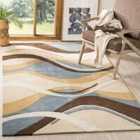 Safavieh Handmade Modern Art Abstract Waves Blue/ Brown Polyester Rug - 9' x 12'
