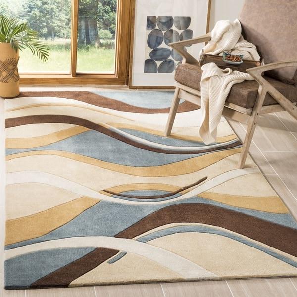 Safavieh Handmade Modern Art Abstract Waves Blue/ Brown Polyester Rug (9' x 12')