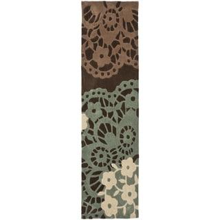 Safavieh Handmade Modern Art Ornamental Terra Brown/ Multicolored Polyester Rug (2'6 x 12')