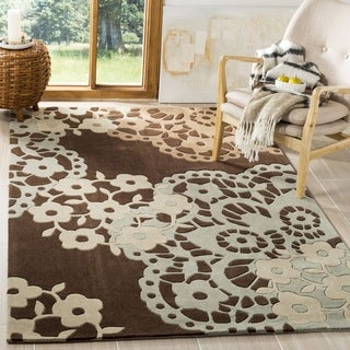 Safavieh Handmade Modern Art Ornamental Terra Brown/ Multicolored Polyester Rug (9' x 12')