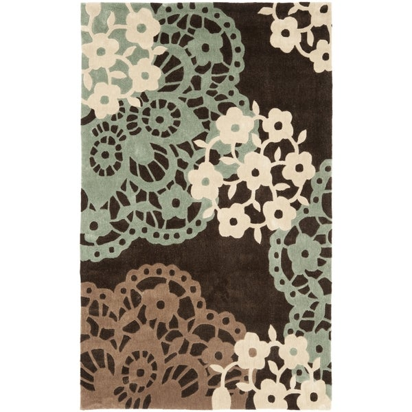 Safavieh Handmade Modern Art Ornamental Terra Brown/ Multicolored Polyester Rug (9' x 12')