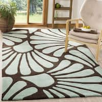 Safavieh Handmade Modern Art Tranquil Floral Brown/ Blue Polyester Rug - 9' x 12'