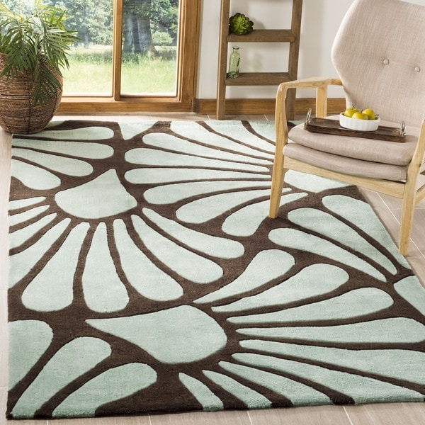 Safavieh Handmade Modern Art Tranquil Floral Brown/ Blue Polyester Rug (9' x 12')