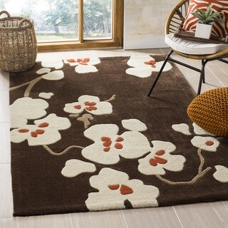 Safavieh Handmade Modern Art Floral Bliss Brown/ Multicolored Polyester Rug (9' x 12')