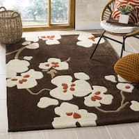 Safavieh Handmade Modern Art Floral Bliss Brown/ Multicolored Polyester Rug - 9' x 12'