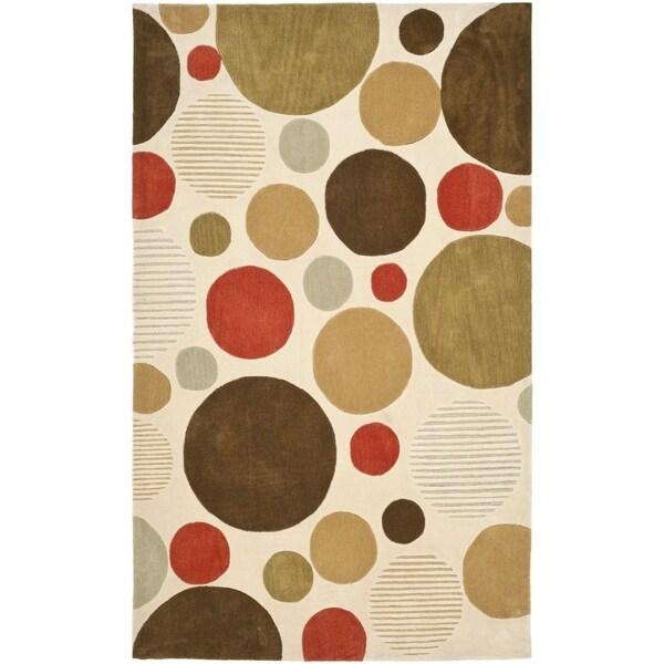 Safavieh Handmade Modern Art Bubbles Ivory/ Multicolored Polyester Rug (9' x 12')
